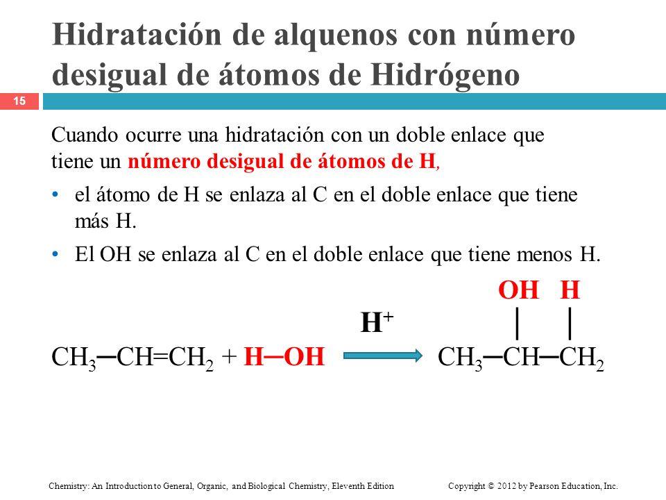 Hidratación de alquenos con número desigual de átomos de Hidrógeno
