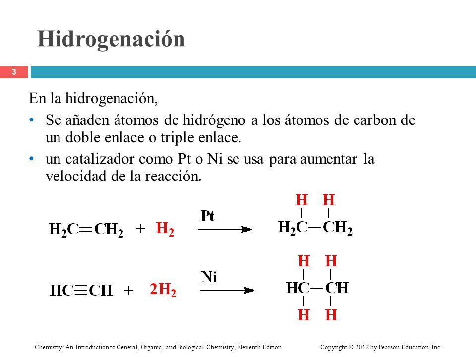 Hidrogenación En la hidrogenación,