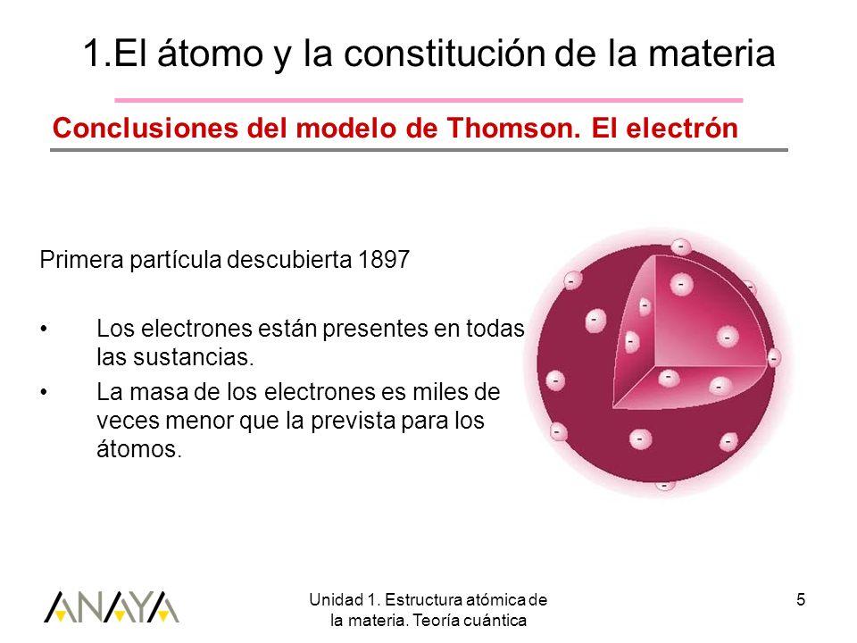 1.El átomo y la constitución de la materia