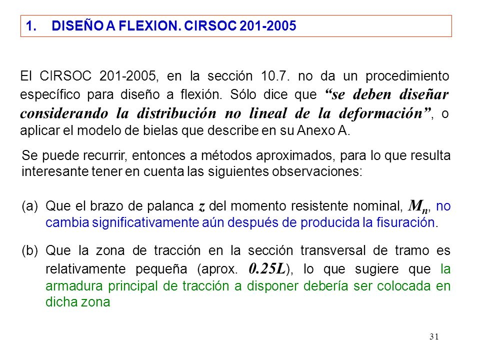 1. DISEÑO A FLEXION. CIRSOC 201-2005