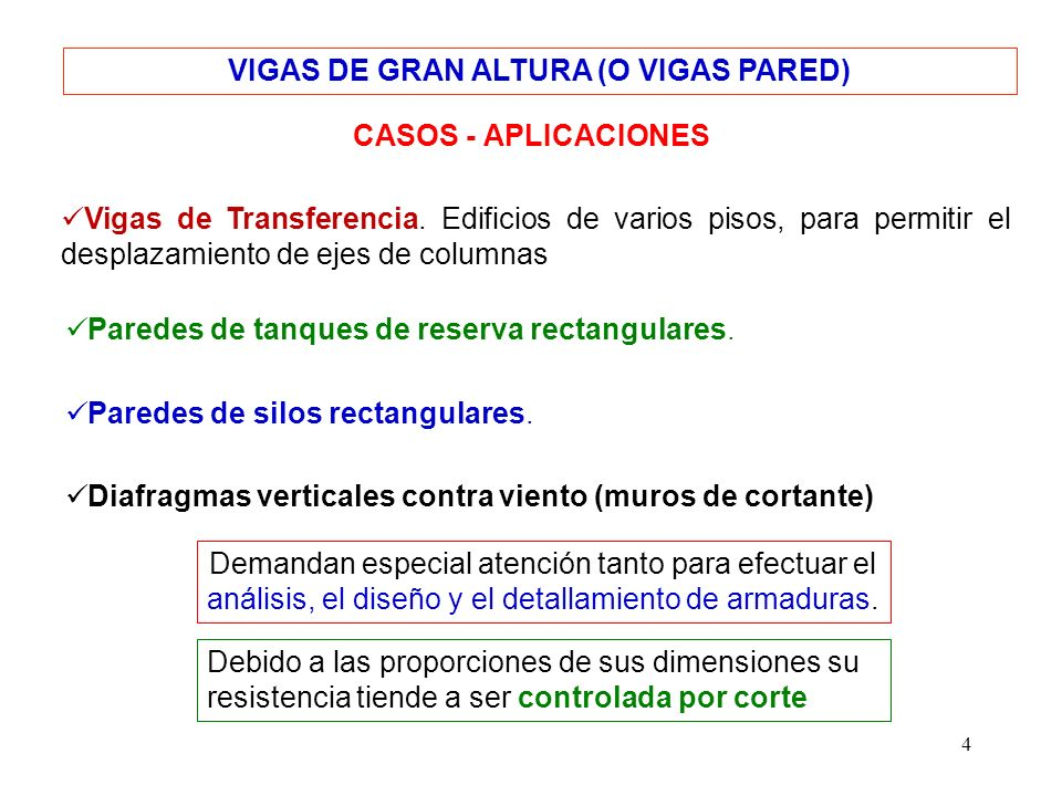 VIGAS DE GRAN ALTURA (O VIGAS PARED)
