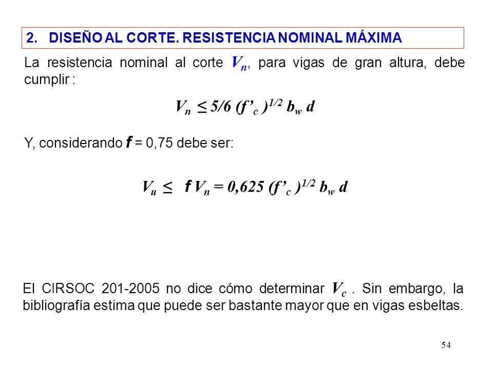 Vn ≤ 5/6 (f'c )1/2 bw d Vu ≤ f Vn = 0,625 (f'c )1/2 bw d