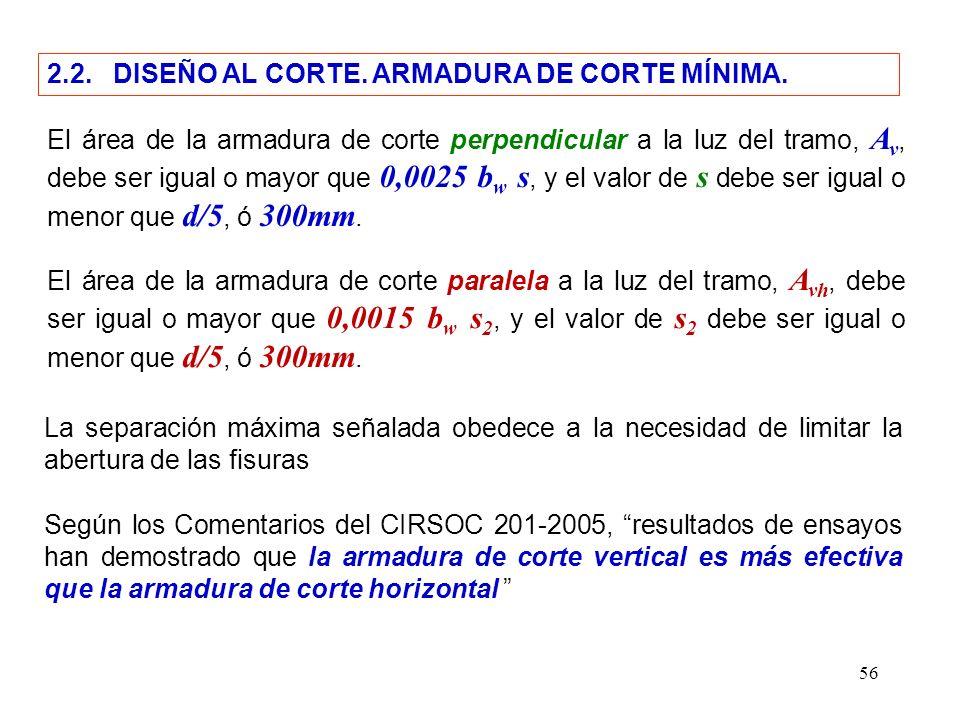 2.2. DISEÑO AL CORTE. ARMADURA DE CORTE MÍNIMA.