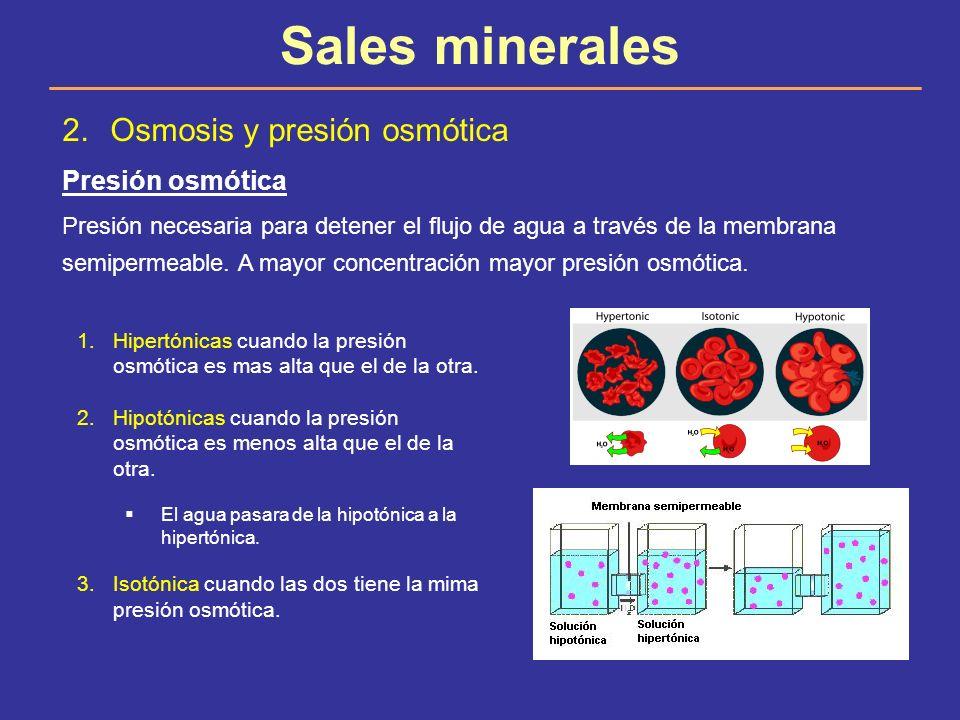 Sales minerales Osmosis y presión osmótica Presión osmótica