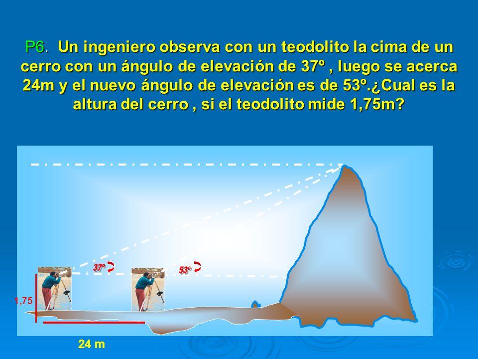 P6. Un ingeniero observa con un teodolito la cima de un cerro con un ángulo de elevación de 37º , luego se acerca 24m y el nuevo ángulo de elevación es de 53º.¿Cual es la altura del cerro , si el teodolito mide 1,75m