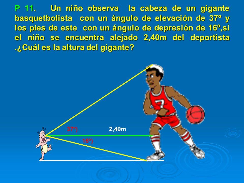 P 11. Un niño observa la cabeza de un gigante basquetbolista con un ángulo de elevación de 37º y los pies de este con un ángulo de depresión de 16º,si el niño se encuentra alejado 2,40m del deportista .¿Cuál es la altura del gigante