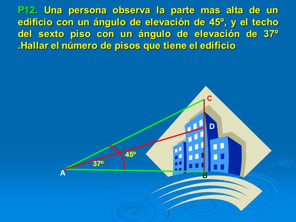 P12. Una persona observa la parte mas alta de un edificio con un ángulo de elevación de 45º, y el techo del sexto piso con un ángulo de elevación de 37º .Hallar el número de pisos que tiene el edificio