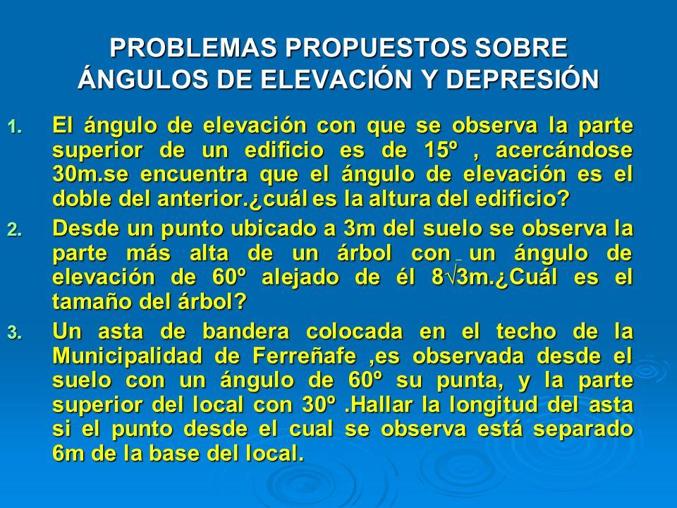 PROBLEMAS PROPUESTOS SOBRE ÁNGULOS DE ELEVACIÓN Y DEPRESIÓN