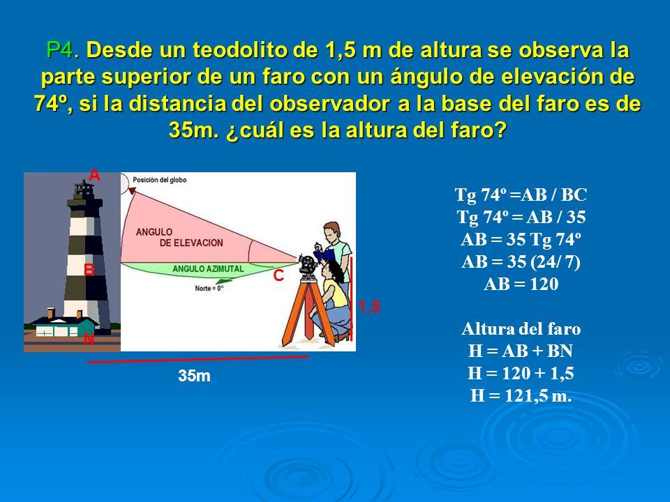 P4. Desde un teodolito de 1,5 m de altura se observa la parte superior de un faro con un ángulo de elevación de 74º, si la distancia del observador a la base del faro es de 35m. ¿cuál es la altura del faro
