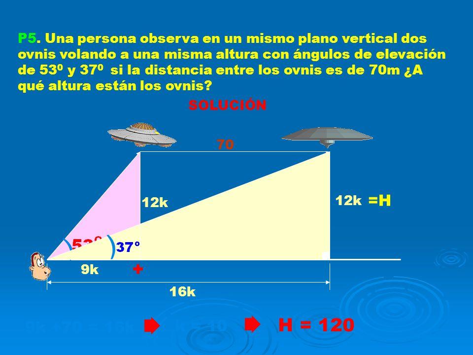 P5. Una persona observa en un mismo plano vertical dos ovnis volando a una misma altura con ángulos de elevación de 530 y 370 si la distancia entre los ovnis es de 70m ¿A qué altura están los ovnis