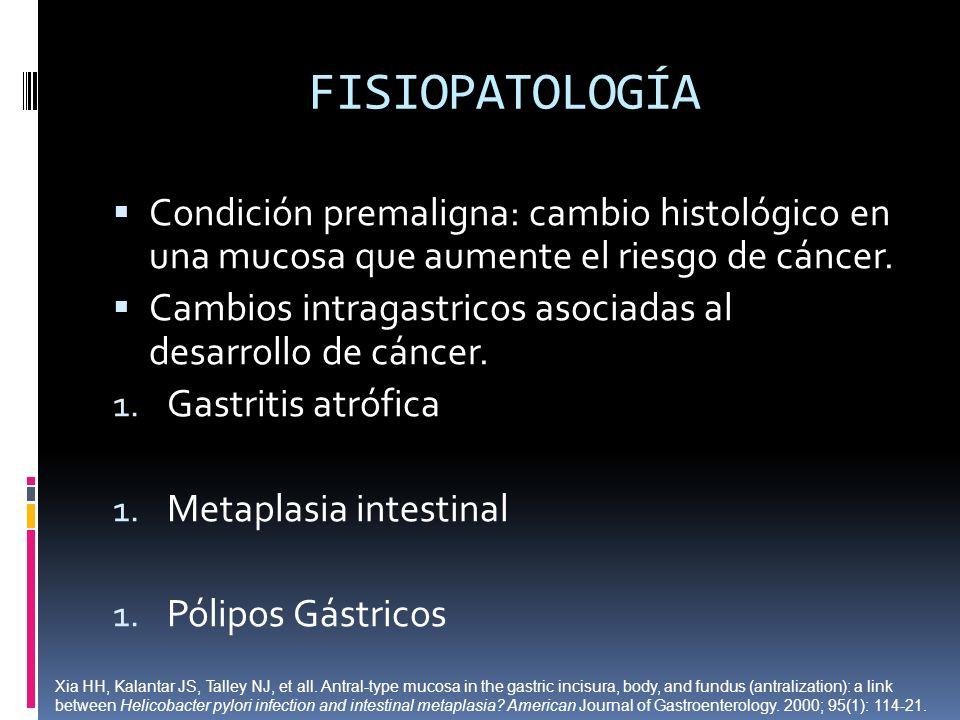 FISIOPATOLOGÍA Condición premaligna: cambio histológico en una mucosa que aumente el riesgo de cáncer.
