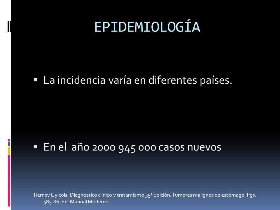 EPIDEMIOLOGÍA La incidencia varía en diferentes países.