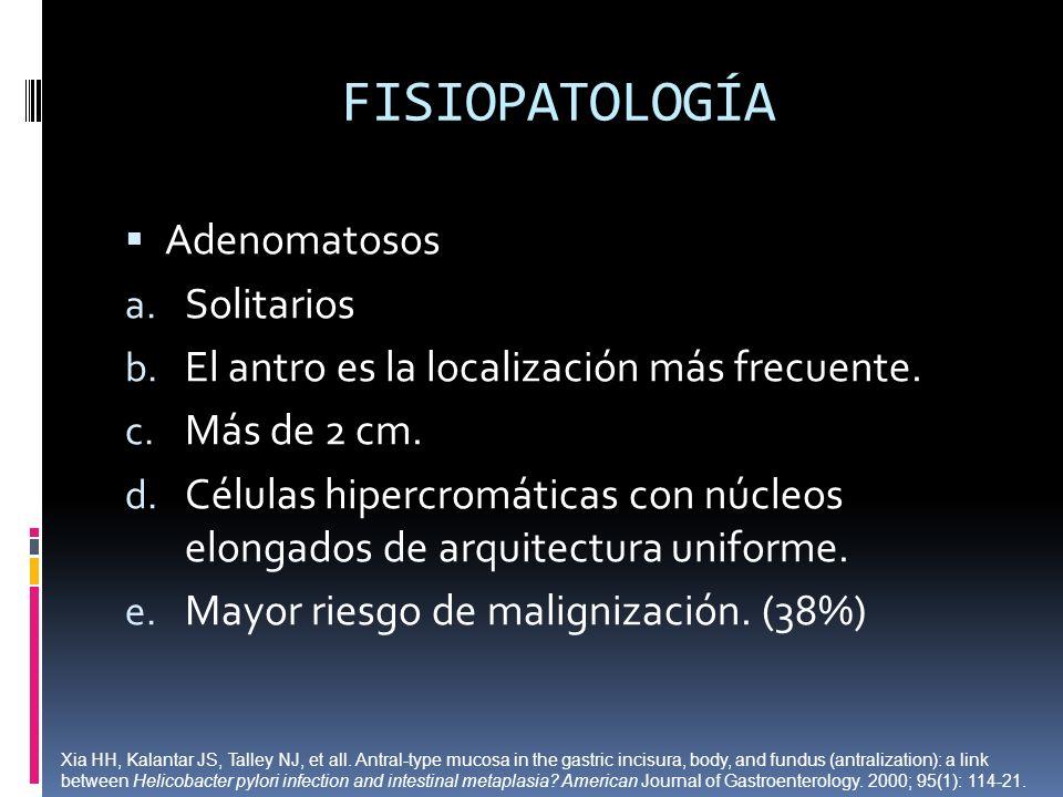FISIOPATOLOGÍA Adenomatosos Solitarios