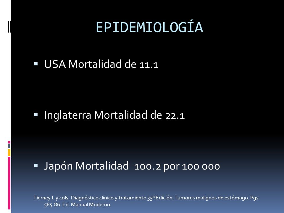 EPIDEMIOLOGÍA USA Mortalidad de 11.1 Inglaterra Mortalidad de 22.1
