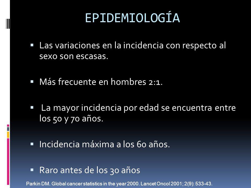EPIDEMIOLOGÍA Las variaciones en la incidencia con respecto al sexo son escasas. Más frecuente en hombres 2:1.