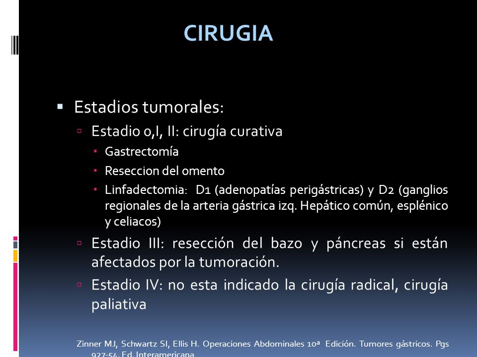 CIRUGIA Estadios tumorales: Estadio 0,I, II: cirugía curativa