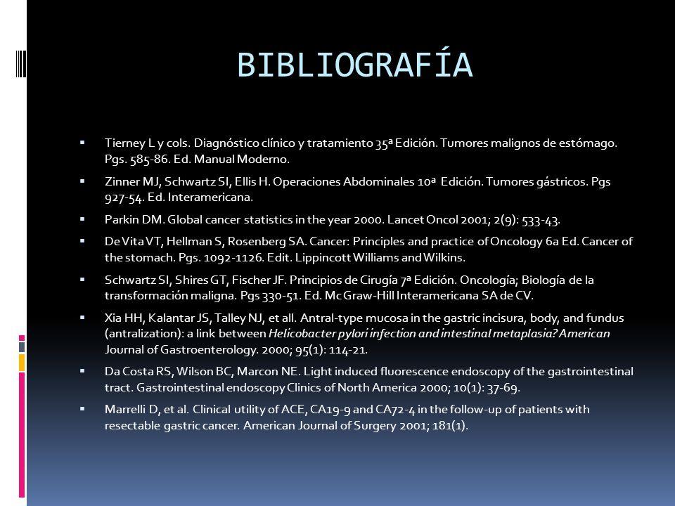 BIBLIOGRAFÍATierney L y cols. Diagnóstico clínico y tratamiento 35ª Edición. Tumores malignos de estómago. Pgs. 585-86. Ed. Manual Moderno.