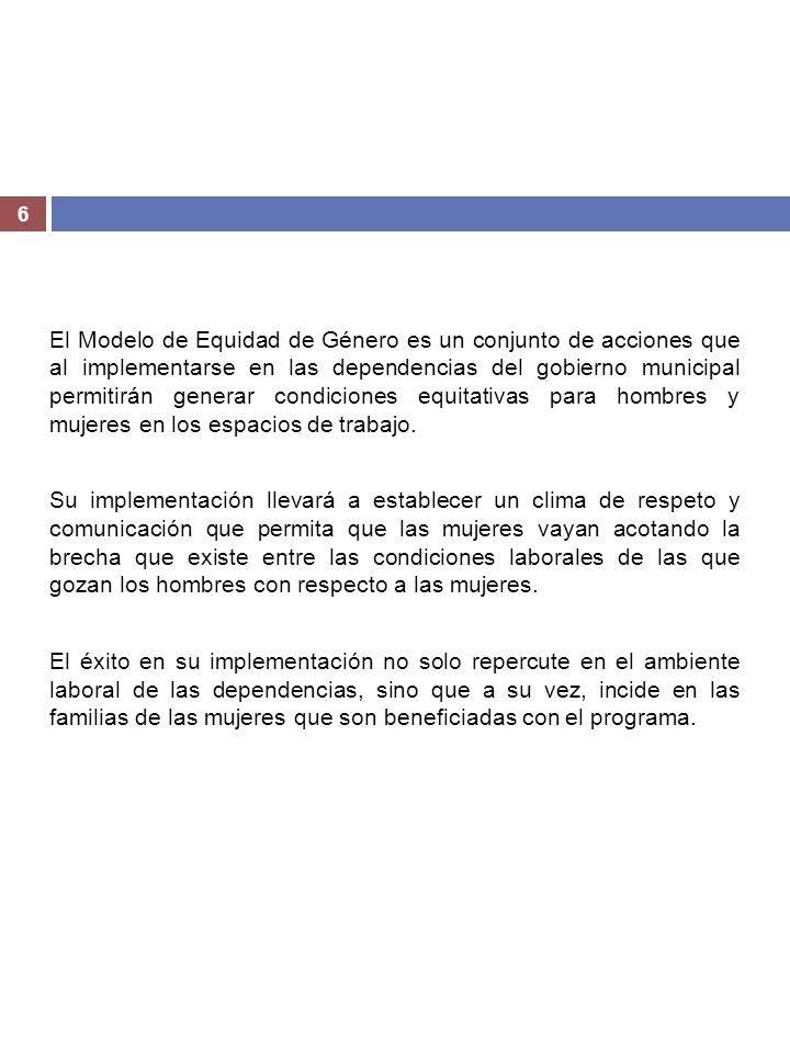 El Modelo de Equidad de Género es un conjunto de acciones que al implementarse en las dependencias del gobierno municipal permitirán generar condiciones equitativas para hombres y mujeres en los espacios de trabajo.
