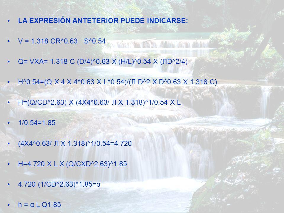 LA EXPRESIÓN ANTETERIOR PUEDE INDICARSE: V = 1.318 CR^0.63 S^0.54