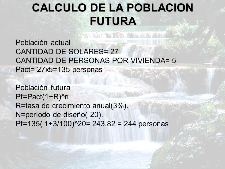 CALCULO DE LA POBLACION FUTURA