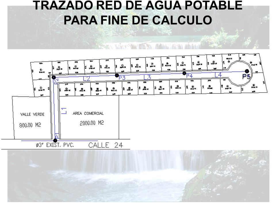 TRAZADO RED DE AGUA POTABLE PARA FINE DE CALCULO