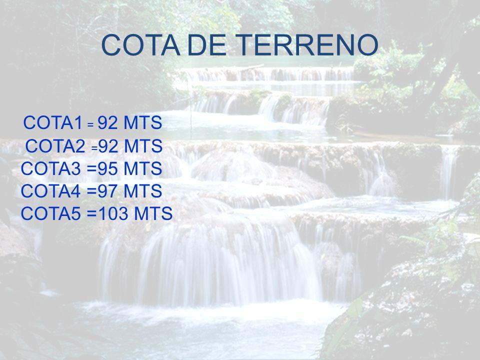 COTA DE TERRENO COTA1 = 92 MTS COTA3 =95 MTS COTA4 =97 MTS