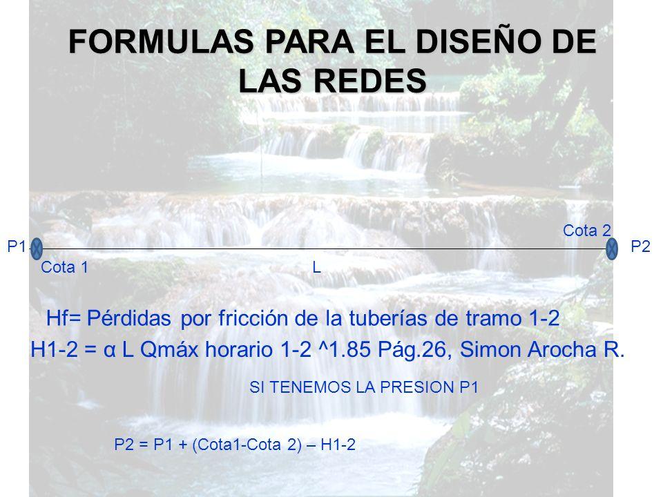 FORMULAS PARA EL DISEÑO DE LAS REDES
