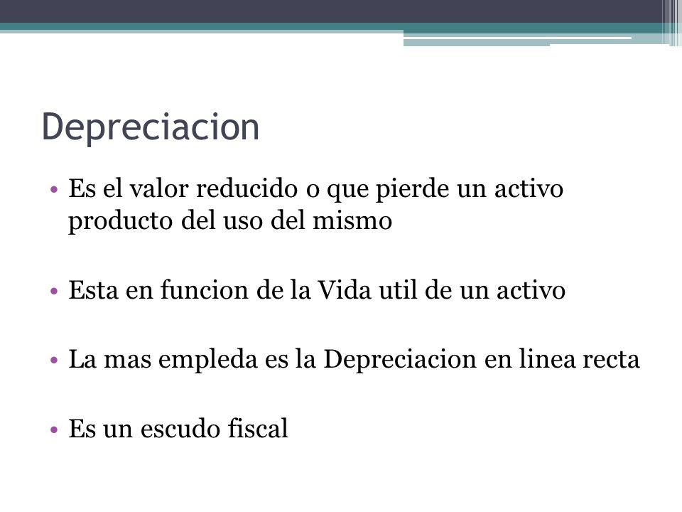Depreciacion Es el valor reducido o que pierde un activo producto del uso del mismo. Esta en funcion de la Vida util de un activo.