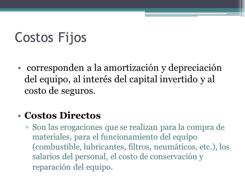 Costos Fijos corresponden a la amortización y depreciación del equipo, al interés del capital invertido y al costo de seguros.