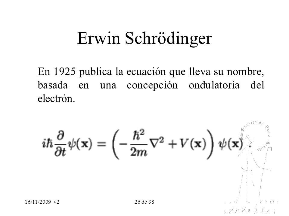 Erwin SchrödingerEn 1925 publica la ecuación que lleva su nombre, basada en una concepción ondulatoria del electrón.
