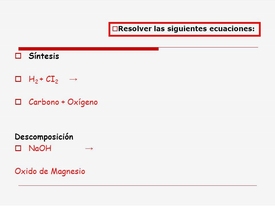 Síntesis H2 + CI2 → Carbono + Oxígeno Descomposición NaOH →