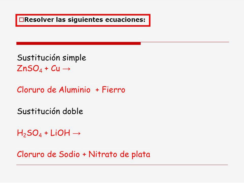 Cloruro de Aluminio + Fierro Sustitución doble H2SO4 + LiOH →