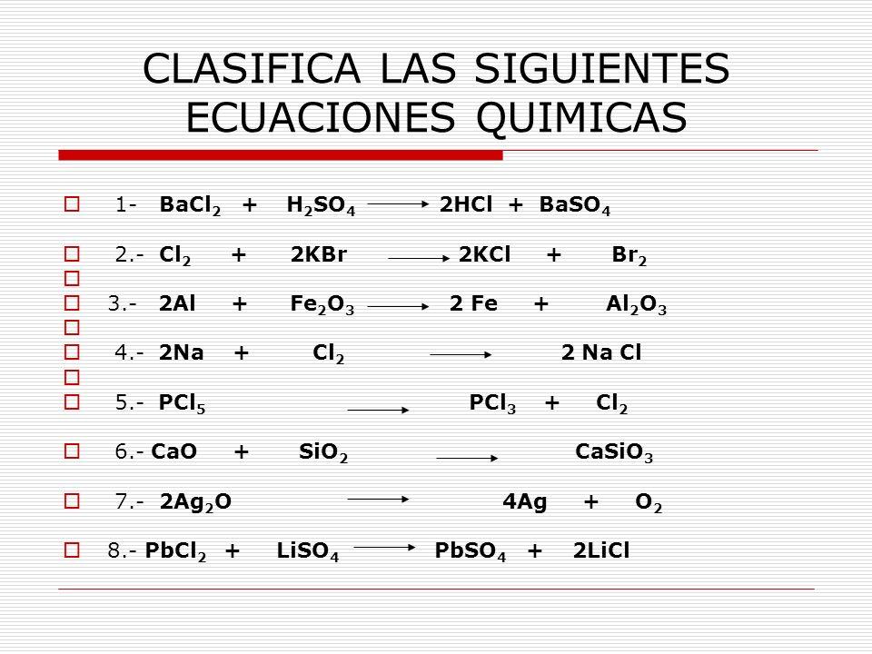 CLASIFICA LAS SIGUIENTES ECUACIONES QUIMICAS