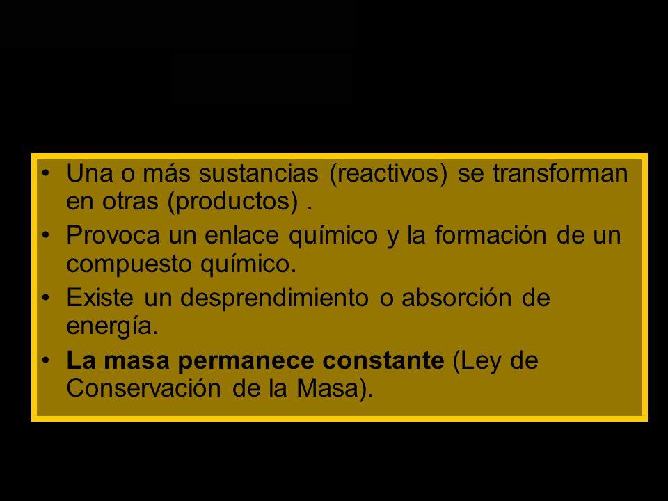 Una o más sustancias (reactivos) se transforman en otras (productos) .