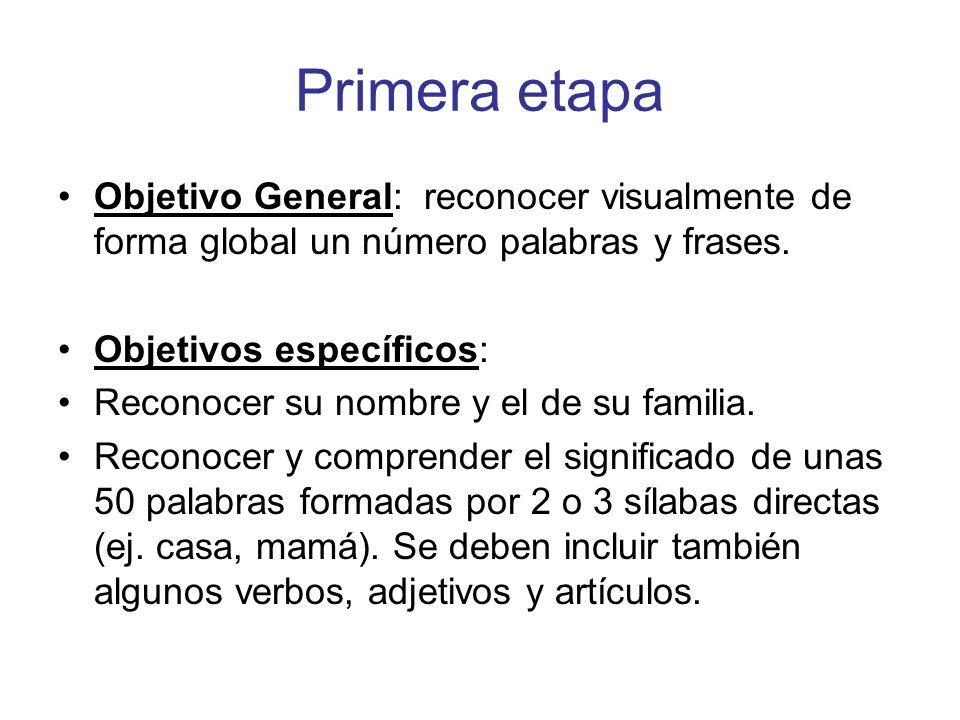 Primera etapa Objetivo General: reconocer visualmente de forma global un número palabras y frases.