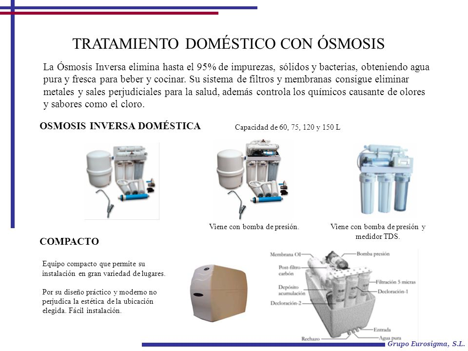 TRATAMIENTO DOMÉSTICO CON ÓSMOSIS