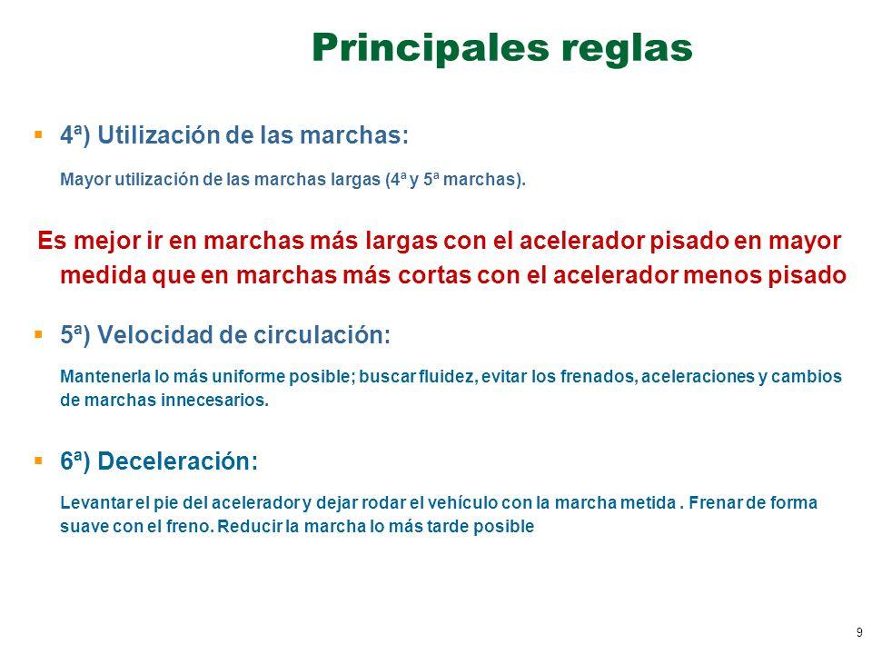 Principales reglas 4ª) Utilización de las marchas: