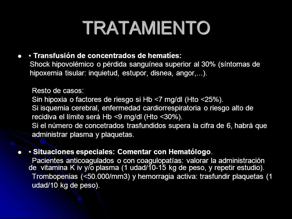 TRATAMIENTO • Transfusión de concentrados de hematíes: