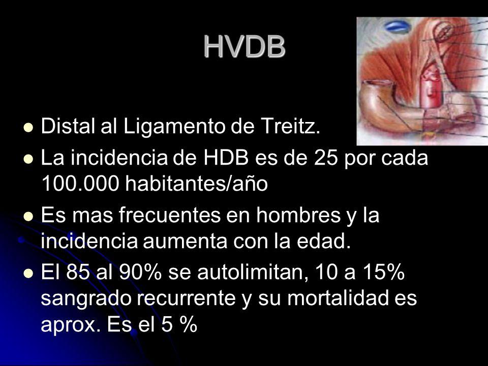 HVDB Distal al Ligamento de Treitz.