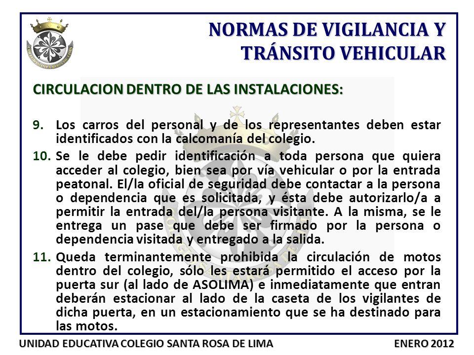 NORMAS DE VIGILANCIA Y TRÁNSITO VEHICULAR