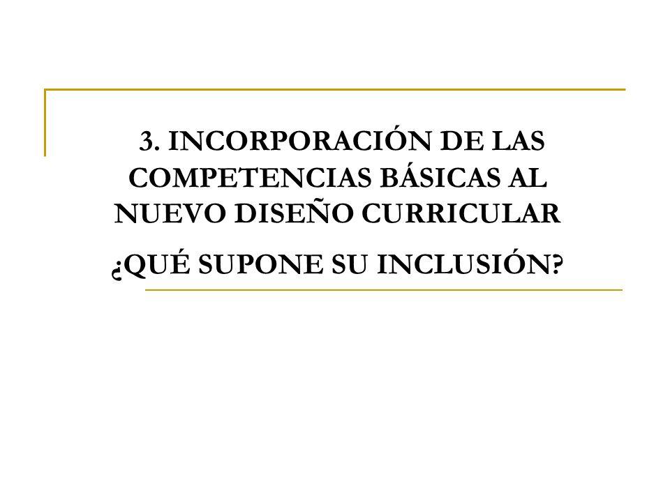 3. INCORPORACIÓN DE LAS COMPETENCIAS BÁSICAS AL NUEVO DISEÑO CURRICULAR ¿QUÉ SUPONE SU INCLUSIÓN
