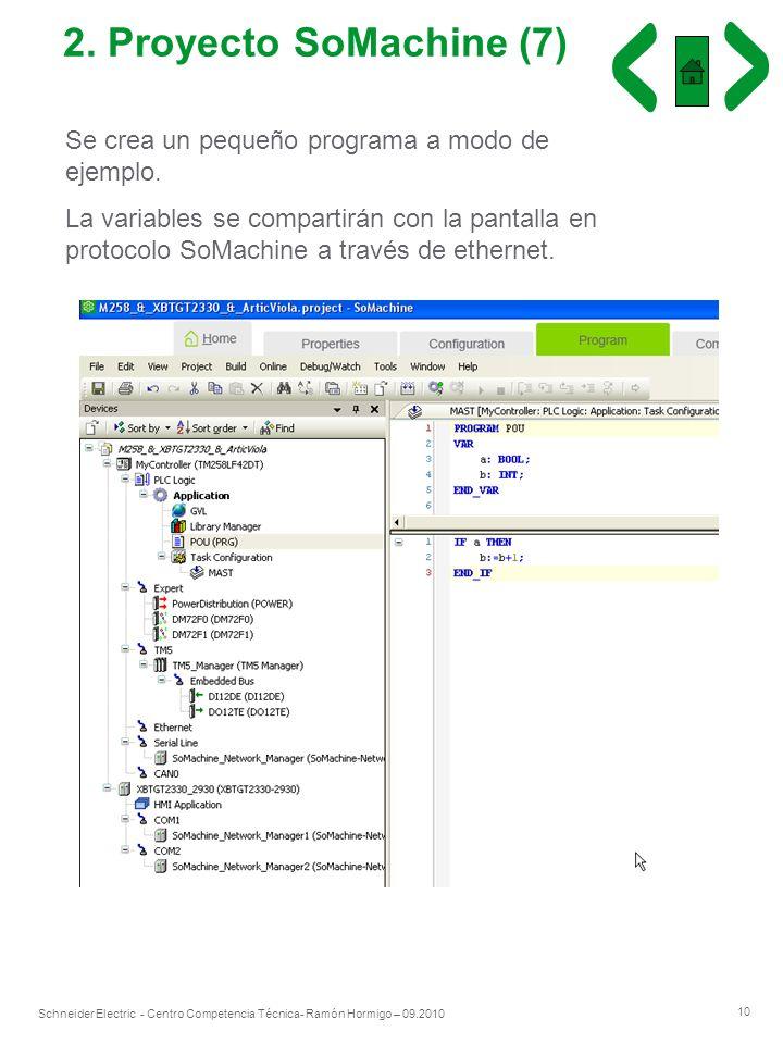 2. Proyecto SoMachine (7)Se crea un pequeño programa a modo de ejemplo.