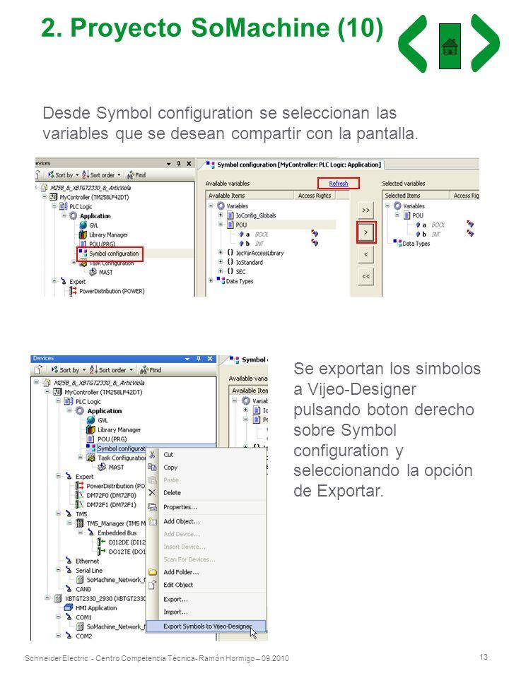 2. Proyecto SoMachine (10) Desde Symbol configuration se seleccionan las variables que se desean compartir con la pantalla.