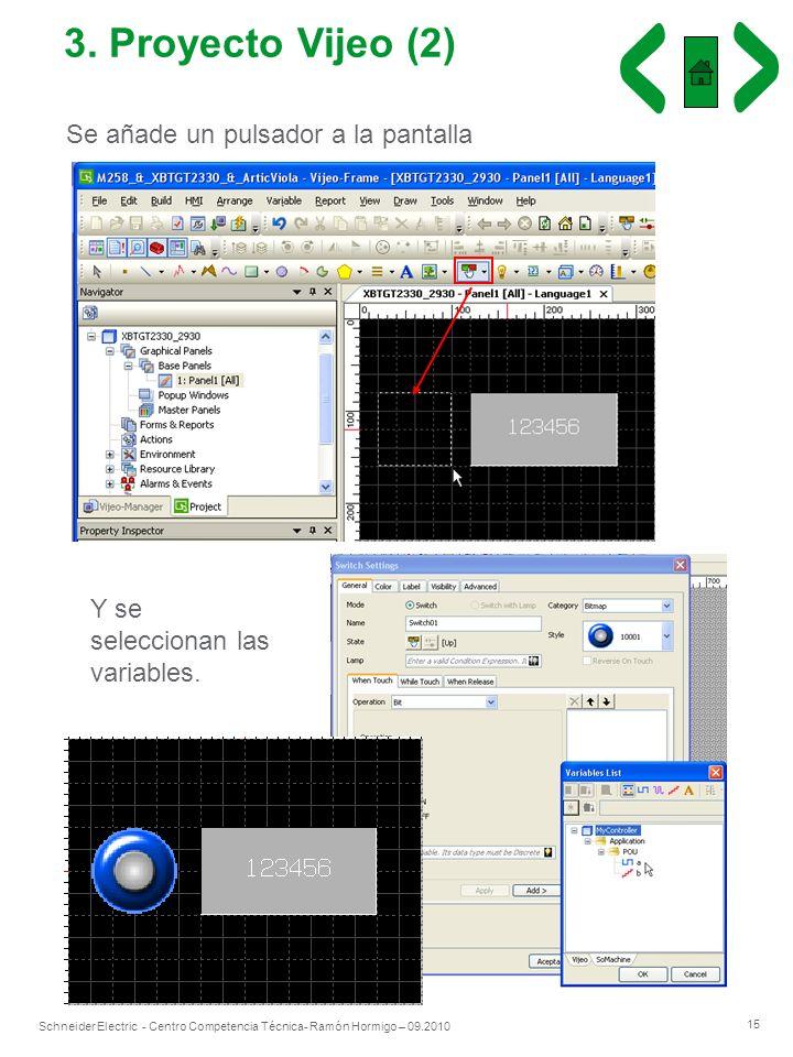 3. Proyecto Vijeo (2) Se añade un pulsador a la pantalla