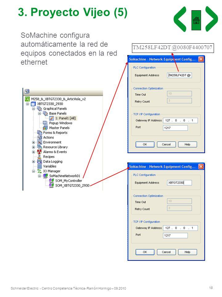 3. Proyecto Vijeo (5) SoMachine configura automáticamente la red de equipos conectados en la red ethernet.