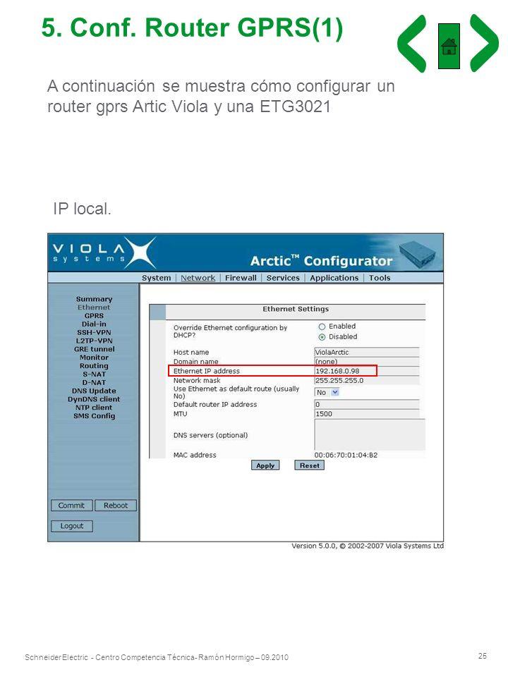 5. Conf. Router GPRS(1) A continuación se muestra cómo configurar un router gprs Artic Viola y una ETG3021.