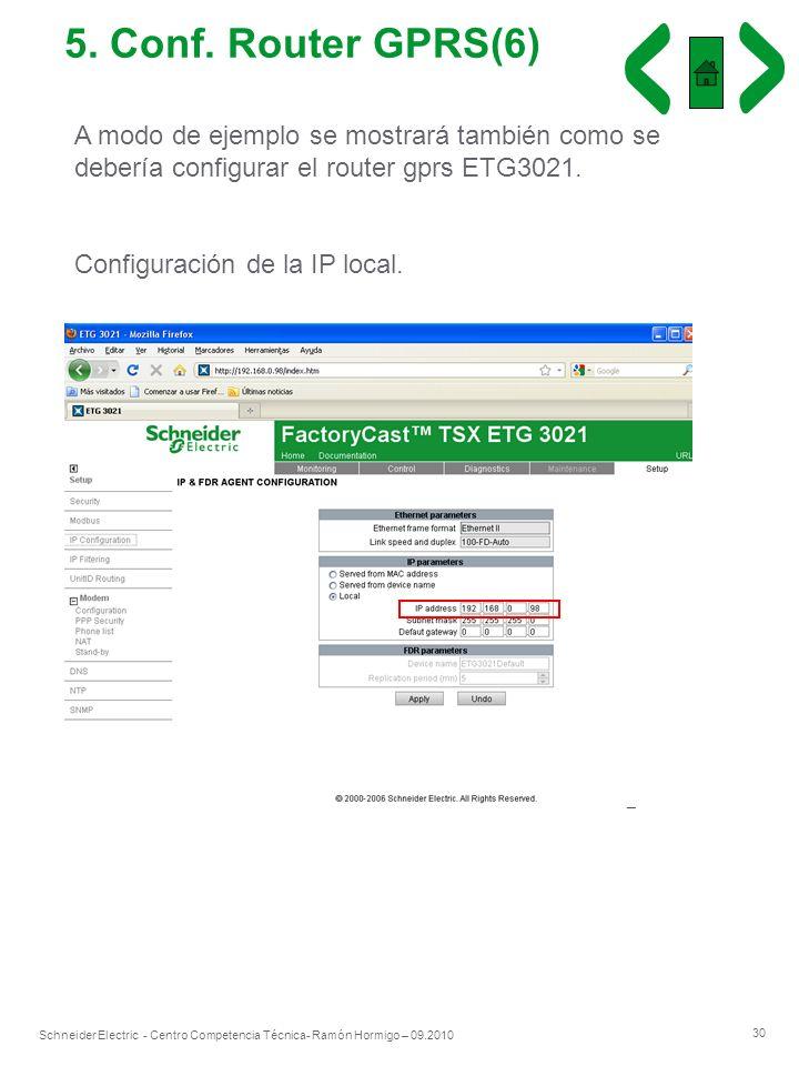 5. Conf. Router GPRS(6) A modo de ejemplo se mostrará también como se debería configurar el router gprs ETG3021.