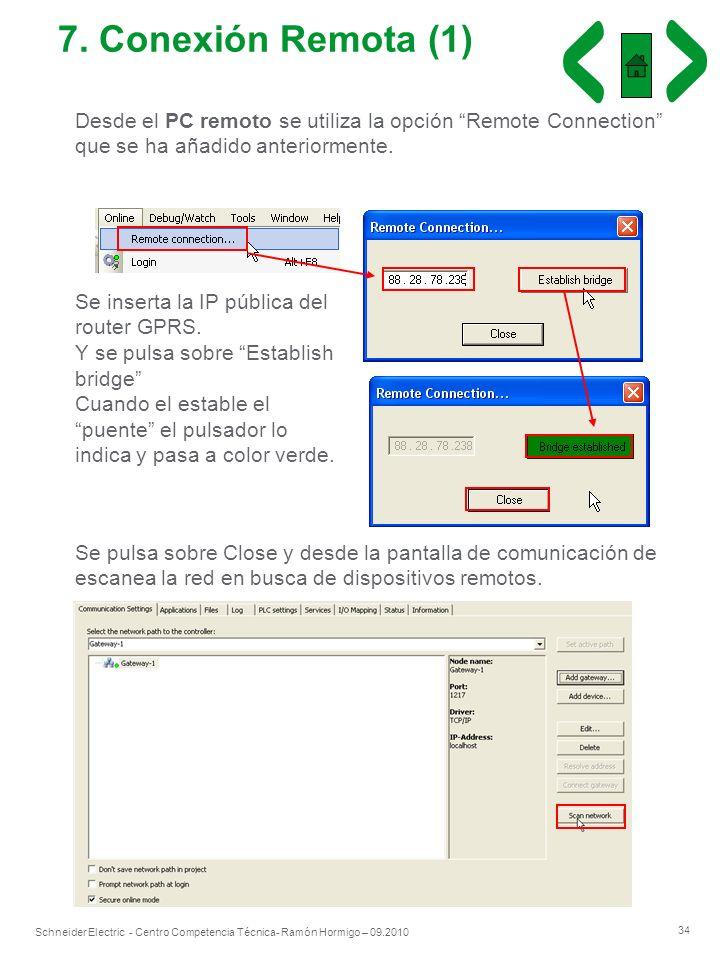 7. Conexión Remota (1)Desde el PC remoto se utiliza la opción Remote Connection que se ha añadido anteriormente.