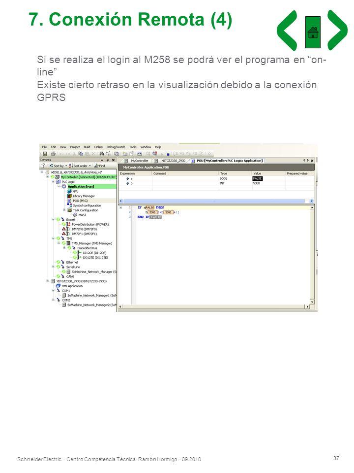7. Conexión Remota (4) Si se realiza el login al M258 se podrá ver el programa en on-line