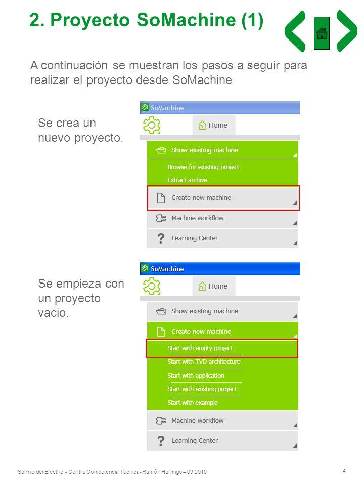 2. Proyecto SoMachine (1) A continuación se muestran los pasos a seguir para realizar el proyecto desde SoMachine.